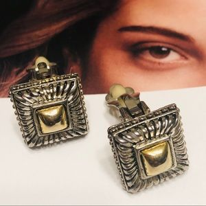 Jewelry - Clip-Ons: Gold & Silver Square Earrings